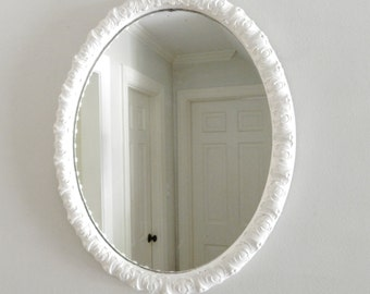 Vintage White Mirror Oval Shabby Chic Wood Frame