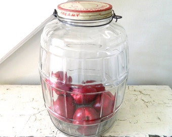 Vintage Glass Jar Pickel Jar Barrel Jar with Wood Handle