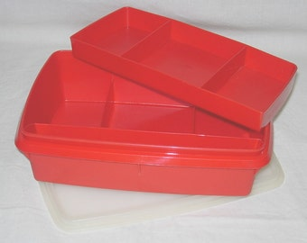 Vintage Tupperware Stow N Go Red 3-pc Organizer Box Sewing Crafts Office First Aid Storage