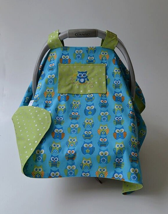 owl baby car seat canopy blue green car seat cover baby shower. Black Bedroom Furniture Sets. Home Design Ideas