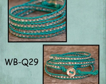 WB-Q29 beaded wrap bracelet - Quadruple wrap - turquoise leather with silver plate beads