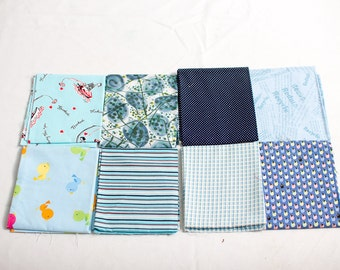 eight fat quarters all with different blues in them