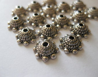 50pcs Antique Silver bead caps, 9x3.5mm, DIY Jewelry Making Supplies and Findings
