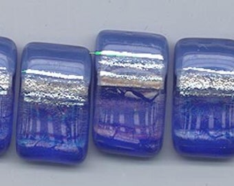 Five gorgeous dichroic fused art glass pendants from New Terra Artifacts - 20 x 12 mm