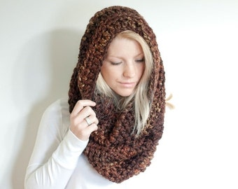 SUMMER SALE the CHEROKEE cowl - chunky cowl scarf hood circle scarf - sequoia - slightly ribbed