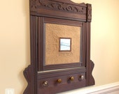 Repurposed Wall Hanger Coat Hat Rack Hooks and Mirror Beautiful Antique Wood Frame with Carved Details