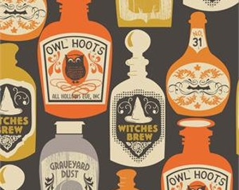Out of Print - Blend Fabrics - Spooktacular - Witches Brew - Black - Choose Your Cut 1/2 or Full Yard