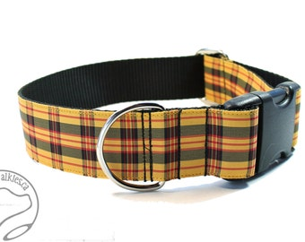 "MacLeod Clan Tartan Dog Collar- 1.5"" (38mm) wide - Red Yellow Black Plaid  - Martingale or Side Release - Choice of collar style and size"