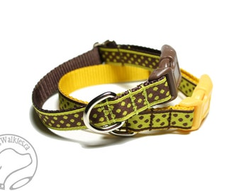 "Brown Dot Or Yellow Dot Dog Collar - 1/2"" (13mm) Wide - Thin Dog Collar - your choice of style, pattern and size"