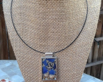 Dove mosaic pendant necklace