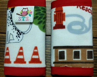 Reversible NEWBORN Car Seat Strap Covers Search and Rescue FLANNEL on Off White wih Red Dimple Dot Minky Cuddle Baby Boy Girl ITEM #091