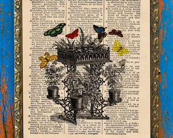 Flower Box for Butterflies Original Collage Print on an Antique Upcycled Bookpage