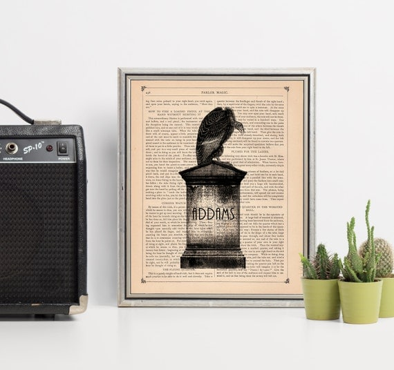 The Addams Family Inspired Muerto Print on an Unframed Upcycled Bookpage