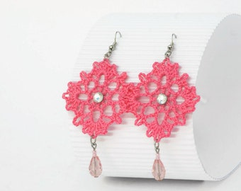 Earrings in pink with drop glass bead, gift for her, romantic style