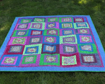 On Sale - Jewel Tones Lap Quilt featuring Bollywood Fabric Collection