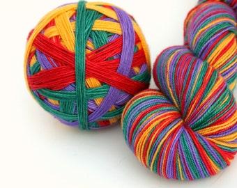 "Self Striping Sock Yarn, Superwash Merino and Nylon Fingering Weight, in ""Mardi Gras"""