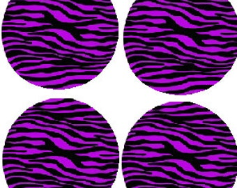Edible Purple Zebra Toppers for Cakes, Cookies, and Cupcakes