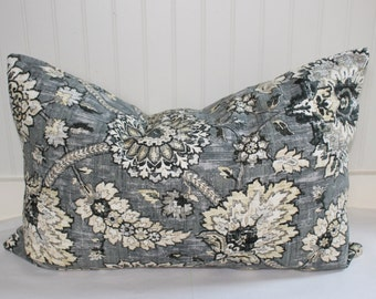 Charcoal, Grey, Taupe and Ivory Floral Pillow Covers in Waverly Clifton Hall Flax