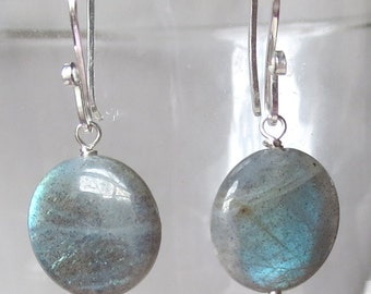 Dove Gray Labradorite with Fire Sterling Silver Earrings