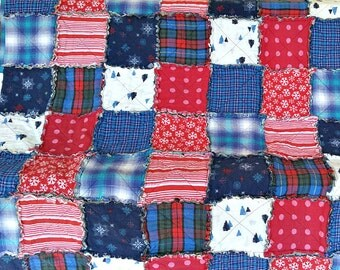 TWIN Red, White & Blue Rag Quilt Handmade Recycled Fabrics