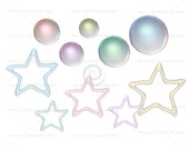 Pearls and frosting stars, value set, digital graphic instant download clipart scrapbooking crafts sparkly pearl glitter frosting glaze