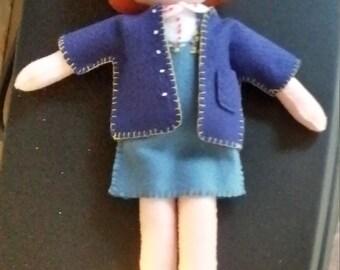Handsewn handmade felt doll, red haired felt doll