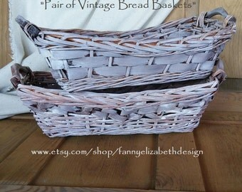 2 Lg. Vintage Bread Baskets-FREE SHIPPING-Farmhouse Baskets-Baskets-Vintage Baskets-Farmhouse-Farmhouse Decor-Bread Baskets-Baskets