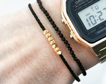 Wish bracelet, Mens bracelet, Red bracelet, Gold nuggets bracelet - vermeil beads on nylon cord