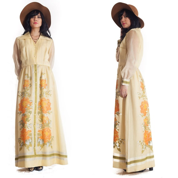 70s Alfred Shaheen Boho Maxi Dress  canary yellow maxi gown dress floral metallic print collared button down dress Large L XL