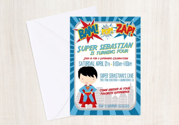 Superhero Birthday Invite - Superhero Invitation - super hero - Party Supplies
