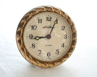 Seth Thomas alarm clock with mother of pearl face marked Germany
