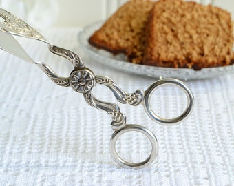 Cookie and pastry tongs, vintage Swedish sandwich server, ornate silver plate, Nils Johan Sweden