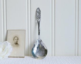 Bon bon spoon, vintage Swedish candy and sugar server, marmelade and jam spoon