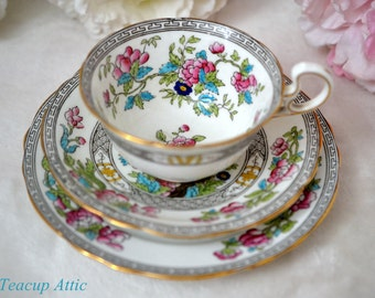 Antique Aynsley Indian Tree Teacup and Saucer Trio, English Bone China Tea Cup Trio Set, Bread And Butter Plate,  ca. 1905-1925