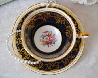 Aynsley Cobalt Blue and Gold Teacup and Saucer Set With Floral Center, English Bone China Tea Cup, Replacement China, ca. 1934