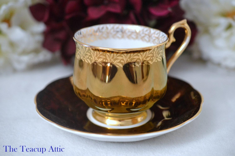 ON SALE Royal Albert Bronze Footed Hampton Teacup and Saucer, English Bone China Tea Cup, Wedding Gift, ca. 1950