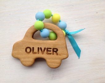 Personalized teether, wood teether,silicone teether, car toy, wooden toy, personalized baby gift, newborn gift, eco toy