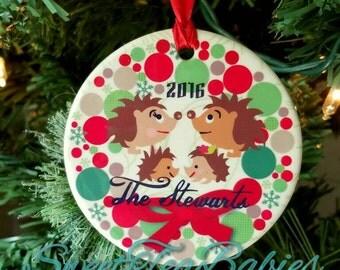 Hedgehog family ornament, Hedgehog Christmas ornament, Hedgehog gift, Hedgehogs, Hedgehog ornament