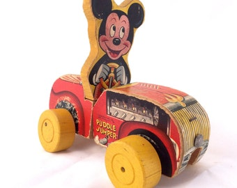 Vintage Fisher Price Mickey Mouse Puddle Jumper Car Wood Pull Toy 1953 - 1956 Fisher Price 310 Vintage Toy