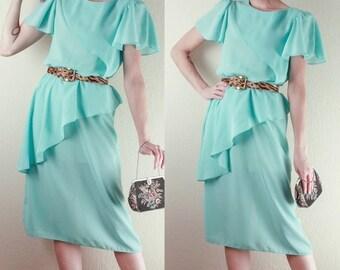 80's Chiffon DRESS // Secretary // Prim Proper // Peplum // Turquoise // Size Small