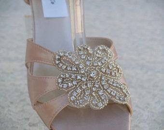 Champagne WEDDING Shoes B W WW width comfortable heel, Satin Sandal short thick heel, Open toe low heel,Crystals flower appliqué, Wide Width