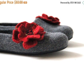 Women slippers - felted wool slippers - grey slippers with red flower - made to order - Valentine day gift