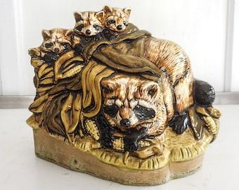 Raccoon Family Glazed Ceramic Figurine