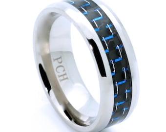 Men's Titanium Ring Wedding Band Blue and Black Carbon Fiber 8MM