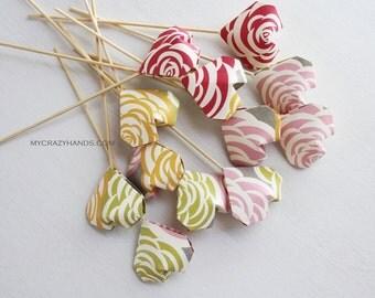 12 origami heart cake picks || bridal shower decors || baby shower toppers || heart picks -rainbow roses