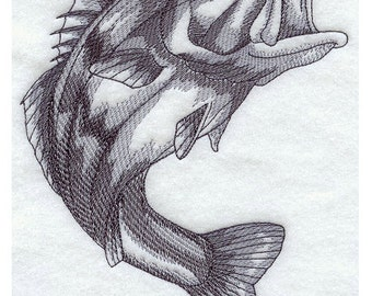 Custom Embroidered Large Mouth Bass / Largemouth Bass Sweatshirt S-3XL