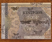 Kindness Mixed Media Art Print Collage Wall Home Decor Black Beige Kindness Matters Inspirational