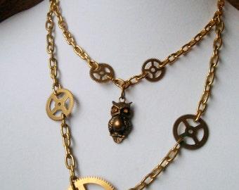 Owl & Clock Gear Necklace