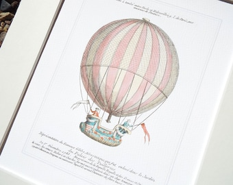 Antique French Hot Air Balloon 5 Archival Print on Watercolor Paper