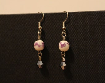 Purple Porcelain Dangle Earrings